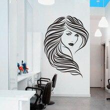 CaCar DIY Wandaufkleber Vinyl Hair Beauty Salon Barbershop Sexy Mädchen Wandaufkleber Frau Gesicht 3D Wandtattoos Home Decor