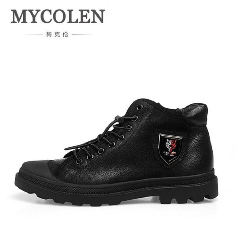 MYCOLEN Genuine Leather Black Men Shoes Brand Design Autumn Winter Men Boots Cow leather Lace-up Boots Men Botas Militares