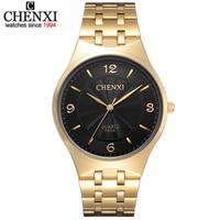 Fashion Luxury Brand Men Casual Golden Watch Women Dress Rhinestone Quartz Stainless Steel WristWatch Men S