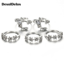 5Pcs/Set Crystal Star Flower Stackable Sparkly Rings Vintage Boho Jewelry Gifts Finger Ring Set Anillo Hombre sparkly faux crystal gem oval finger ring