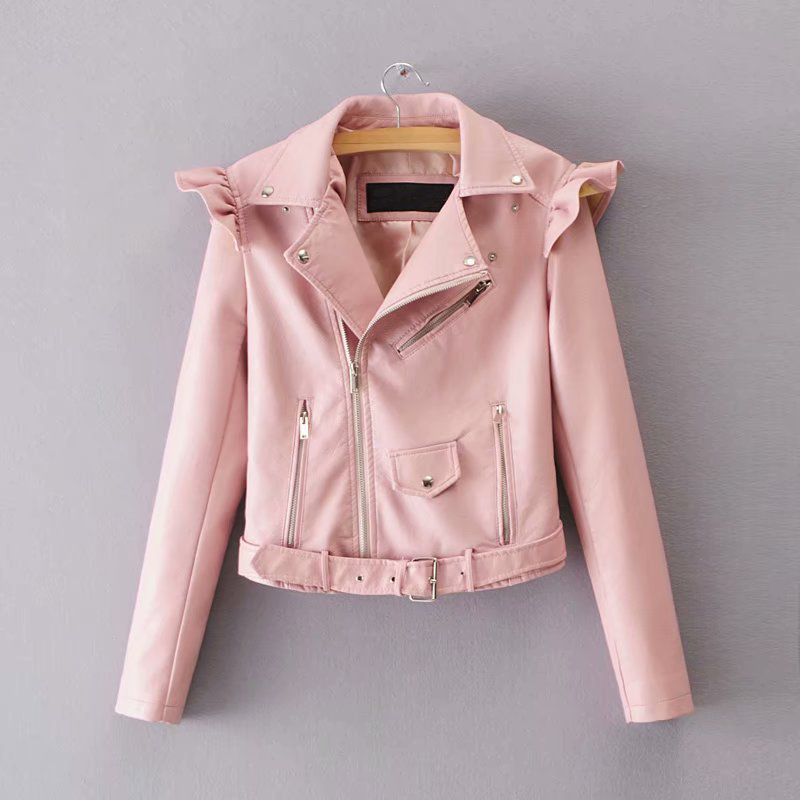Autumn 2018 Winter   jacket   Women pu Leather   jacket   female zipper short ruffles coats female Lapel   basic     jackets   Womens   jacket