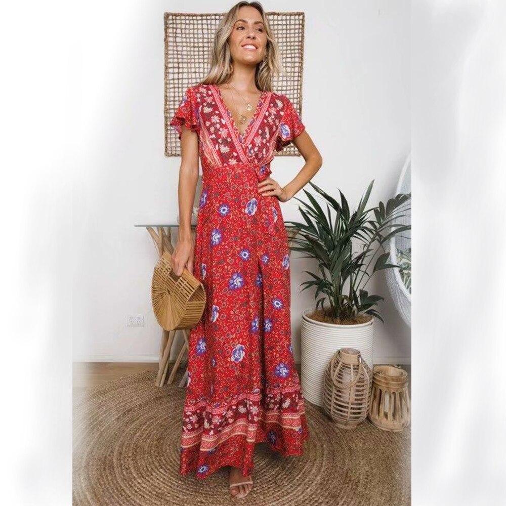 Boho Wrap Beach 2019 Sexy Du Dresse Coucher Rouge Maxi Red navy D'été Profond Femmes Robe Cordon Floral V Taille Yose Vintage Soleil Long Khale xYq5OO