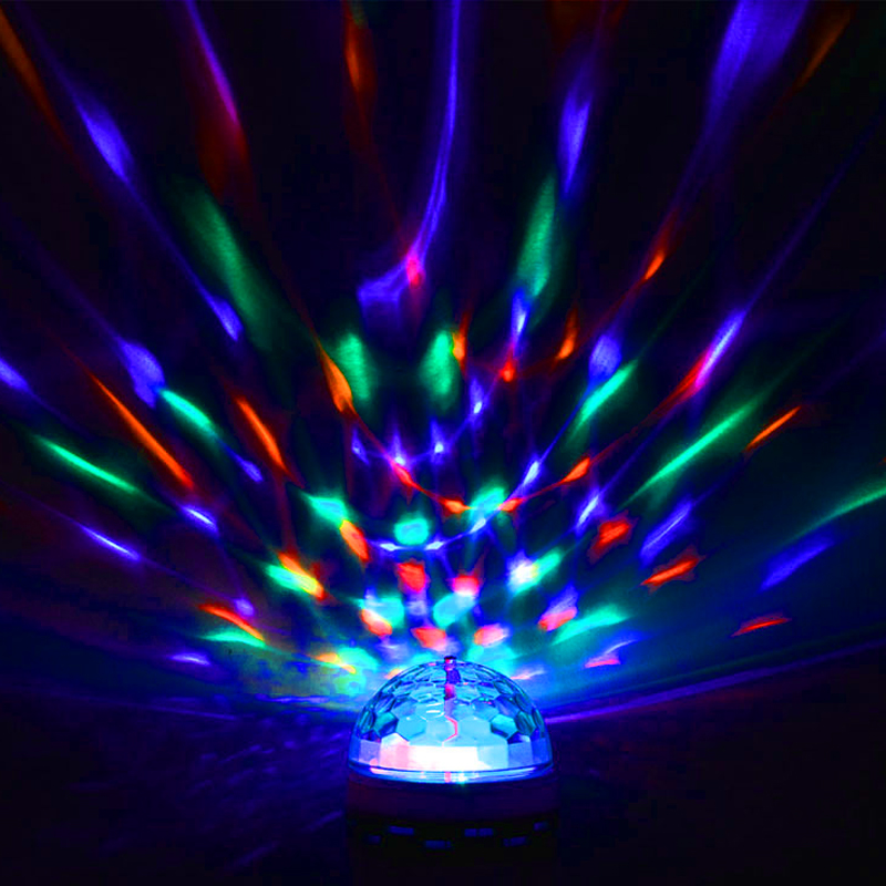 LED Colorful Dance Stage Light Holiday Party Festival Decoration Mini Laser Projector Lamp E27 AC110V 220V Rotating Crystal Ball