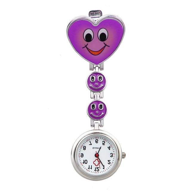 Timezone#301 Simple Unisex Watch Heart Shape Quartz Movement Nurse Brooch Fob Tu
