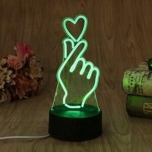 Image 5 - ヤムusbノベルティ7色ロマンチック変更指ハートledナイトライト3dデスクテーブルランプ魔法の夜の光