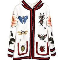 Высокое качество вышитые куртка с капюшоном модные красивые женские с капюшоном Куртки весна осень белые кардиганы пальто S117