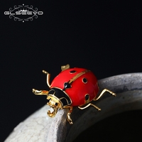 XlentAg 925 Sterling Silver Ladybug Brooch For Women Girls Daughter Gifts Cute Insectos Brooches Badge Handmade Jewellery GO0008