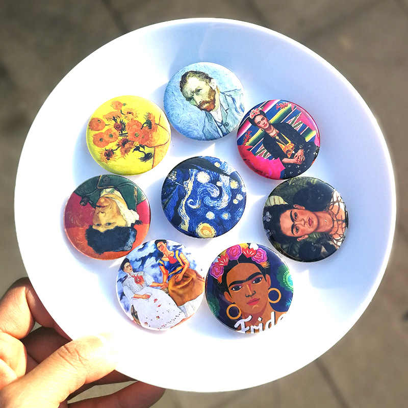 Nengdou T4 Van Gogh oil painting brooch Mexican painter badge classical pin Tinplate brooch backpack icon decoration on clothes