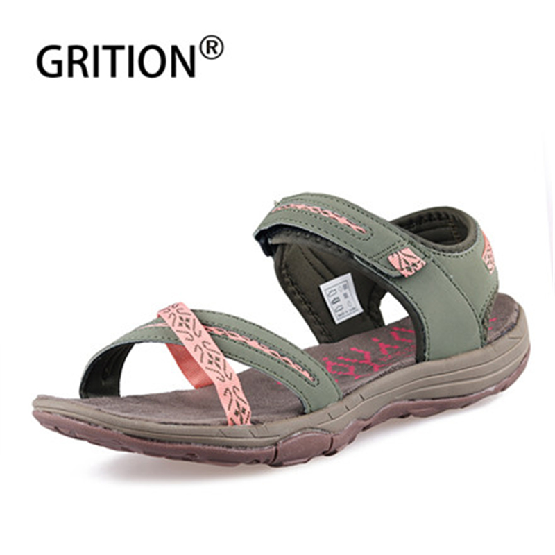 GRITION Women Sandals Outdoor Summer Flat Beach Open Toe Casual Shoes Female Walking Hiking Trekking Lightweight Fashion Sandals