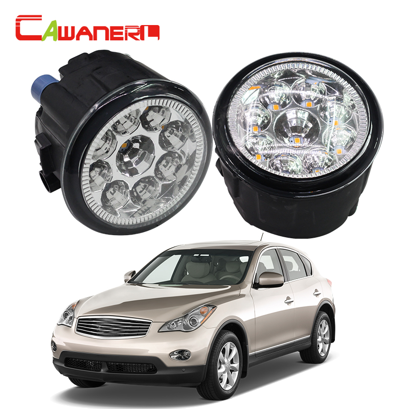 Cawanerl 2 Pieces H8 H11 Car LED Light Front Fog Light DRL Daytime Running Light 12V DC For Infiniti EX35 3.5L V6 2008-2012 cawanerl for toyota highlander 2008 2012 car styling left right fog light led drl daytime running lamp white 12v 2 pieces
