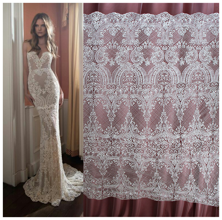 130cm*1yard High quality Water soluble hollow embroidery flowers Lace fabric Wedding dress fish tail Slim white Lace fabric
