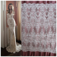 High Quality Water Soluble Hollow Embroidery Flowers Lace Fabric Wedding Dress Fish Tail Slim White Lace