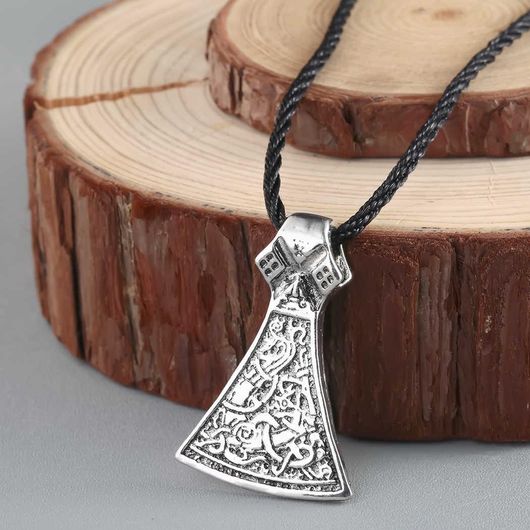 Kinitial Nordic Viking Men Necklaces Women Slavic Symbol Amulets Antique Silver Raven Hammer Pendant Punk Male Necklace Jewelry