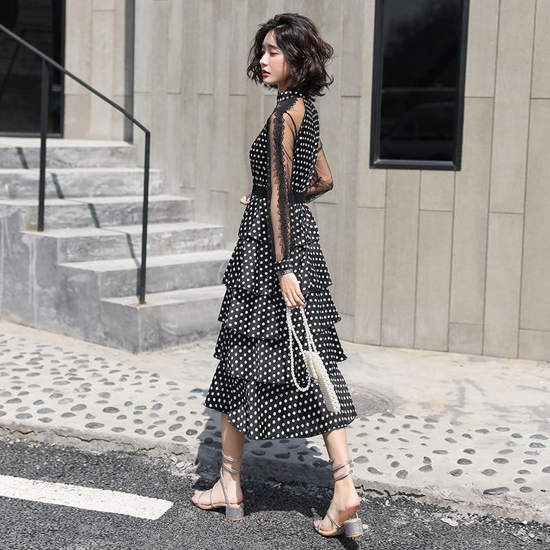 Fashion new chiffon dress transparent long sleeved polka dot dress ladies elegant temperament long dress