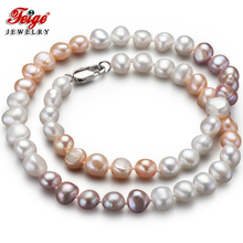 Feige Special offer Baroque style 7-8MM Multicolor Natural Freshwater Pearl Necklace for Women Fine Jewelry Colar Bijoux
