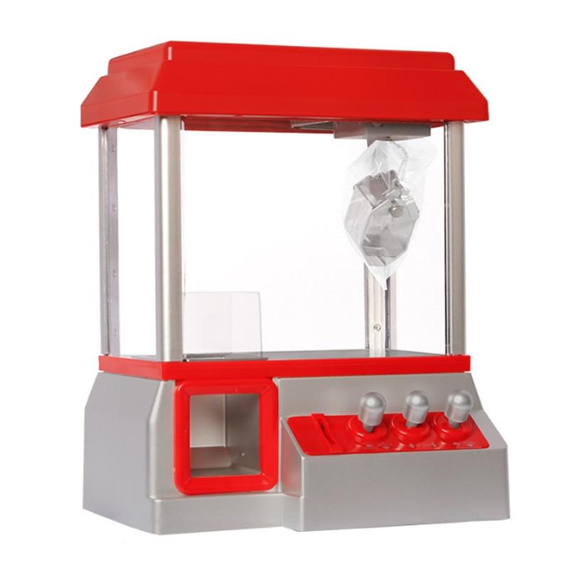Crianças mini máquina de jogo arcade, vendendo música doce grabber máquina de garra operada a moeda brinquedo sem bonecas, presentes das crianças