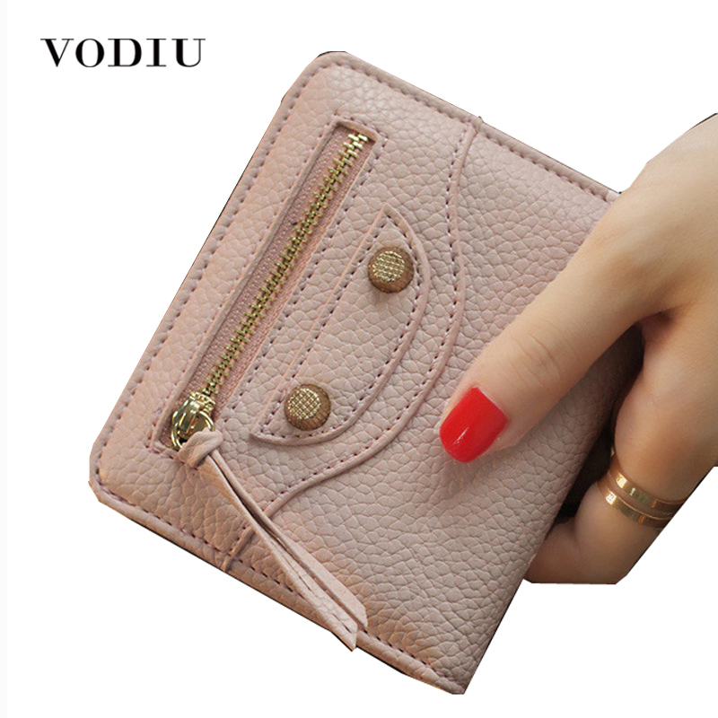 New designer vintage motorcycle bag zipper rivet women mini short wallet leather clutch purse photo card holder coin pocket beffery 2018 british style patent leather flat shoes fashion thick bottom platform shoes for women lace up casual shoes a18a309