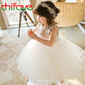 chifave 2016 New Summer Girls Dress Clothes Sleeveless Bow Decoration O-neck Cute Ball Gown Knee-length Girls Kids Fashion Dress