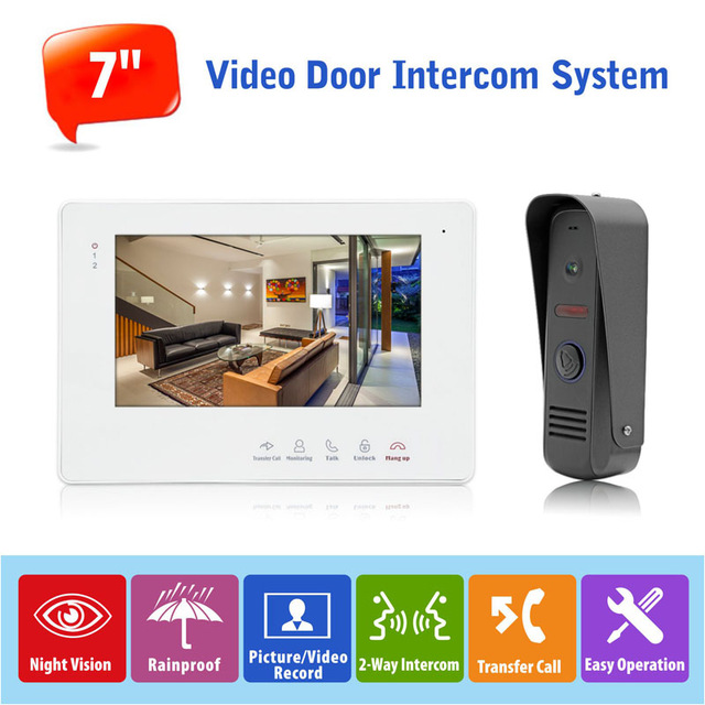 7inch Two Way Door Phone Home Intercom Hands Free Video Doorbell Monitor Intercom System with 1 Camera 800TVL For Home Security