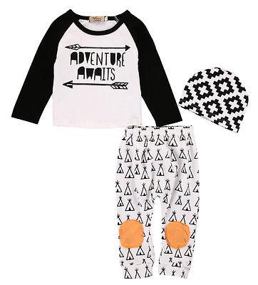 3PCS Set Newborn Toddler Kids Baby Boys Girls Long Sleeve Outfits Clothes T-shirt Tops+Pants + hat