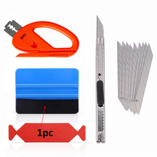 FOSHIO 5PCS Carbon Fiber Vinyl Car Wrap Film Squeegee Scraper Sticker Installation Kit Cutter Knife Styling Accessories