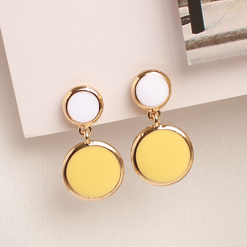 Us 2 99 No Pierced Earrings Korean Fashion Clip On Without Piercing Round Yellow Earring In From Jewelry Accessories