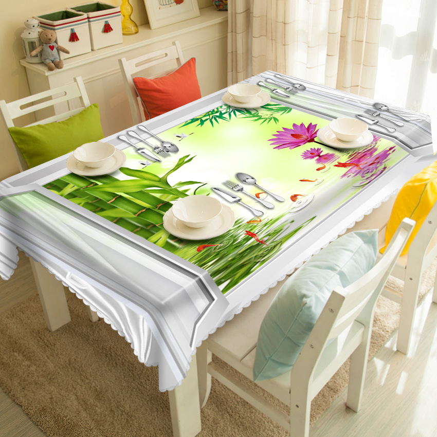 Home Decorative 3d Tablecloth Fake Window Bamboo Flowers Pattern Washable Polyester Waterproof Rectangular&Round Table cloth