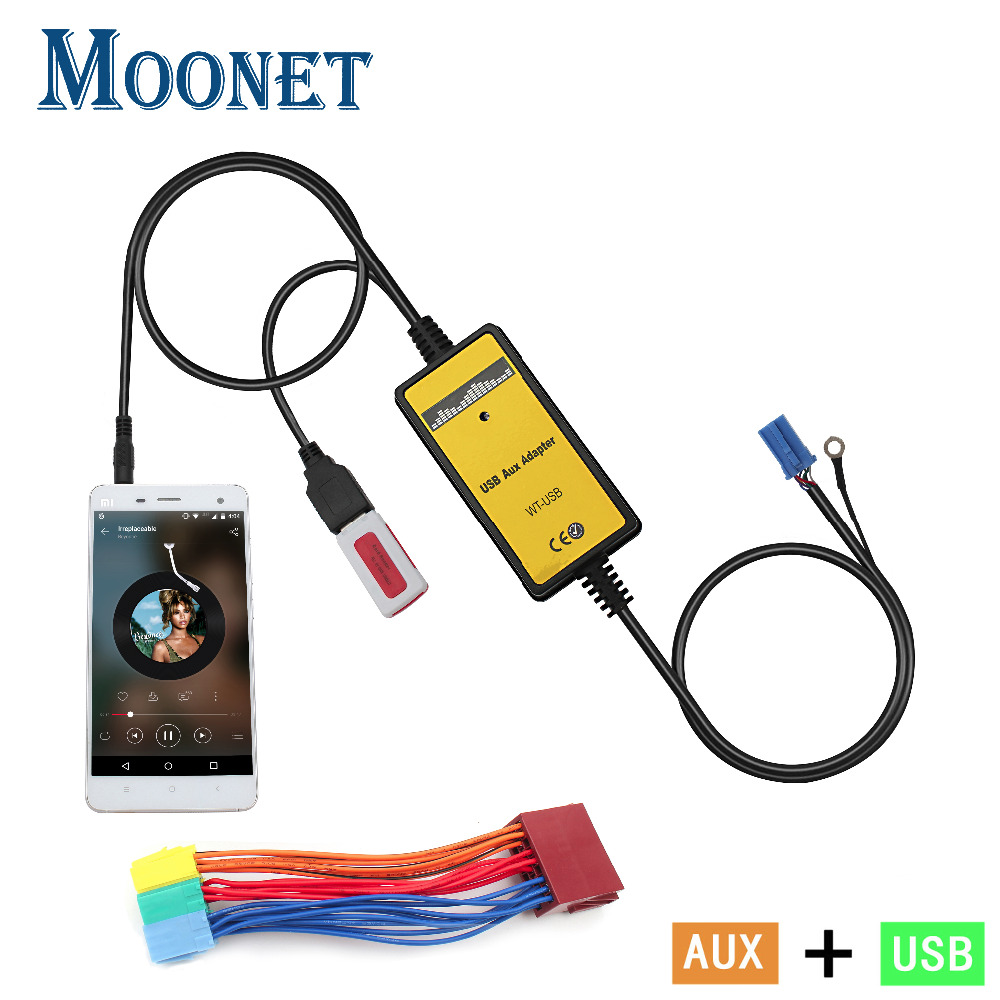 цена на Moonet Car Audio USB AUX Adapter 3.5mm interface AUX CD Changer for Audi 8Pin A2 A4 S4 A8 A8 AllRoad TT Skoda Seat KB004