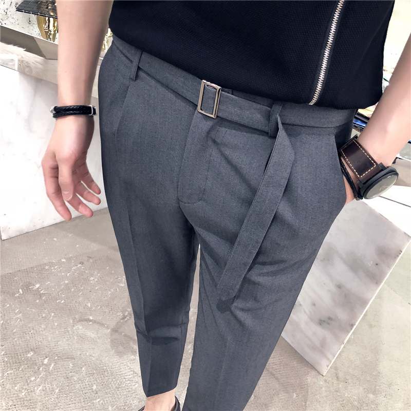 2018 spring and summer tide mens Slim Korean leisure trousers youth British hair stylist casual feet nine pants men