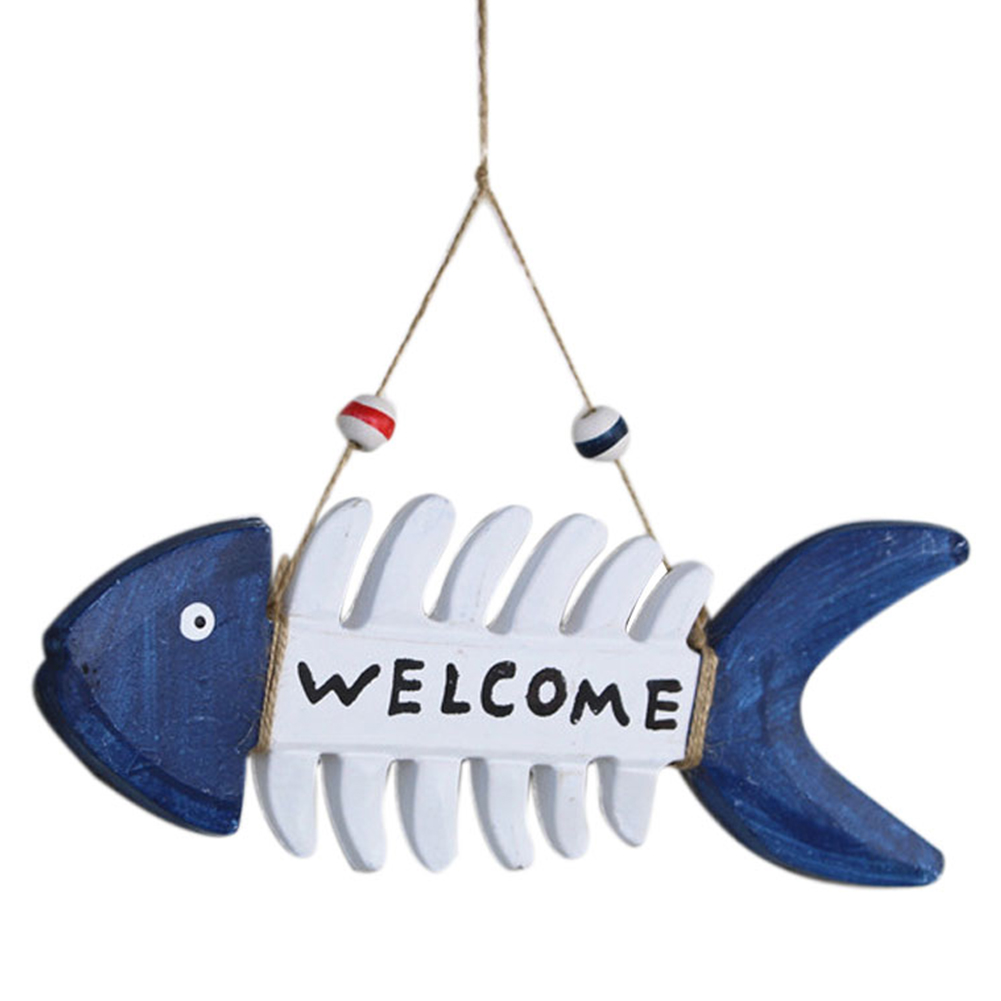 Welcome Sign Wooden Door Hanging Ornament Fish Bone Shape Wall Hang Wood Plate Pendant Decoration Colorful