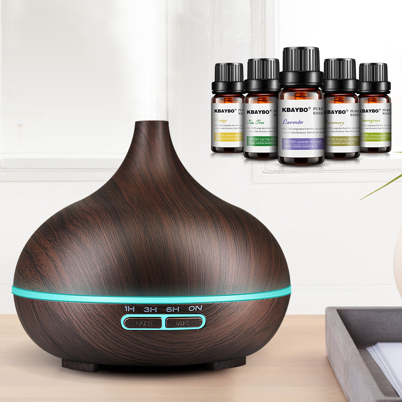 300ml Ultrasonic Air Humidifier Aroma Essential Oil Diffuser With Wood Grain 7 Color Changing LED Lights