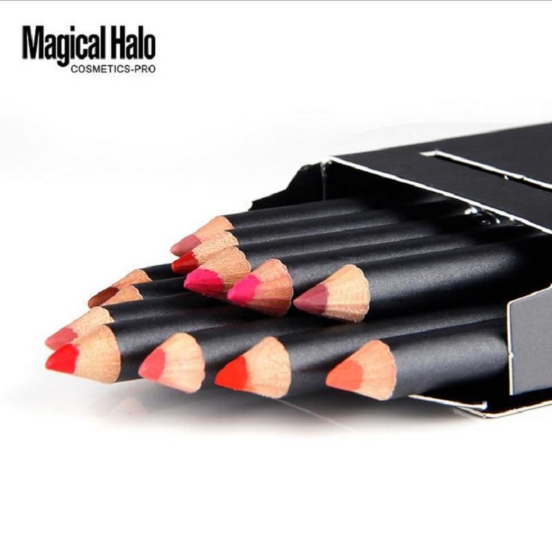 12pcs/lot Magical Halo Brand <font><b>Lip</b></font> <font><b>Pencil</b></font> Waterproof Long-lasting <font><b>Lip</b></font> Liner Pen Stick Soft Lipliner Makeup <font><b>Nude</b></font> 12 Color Kit Tools