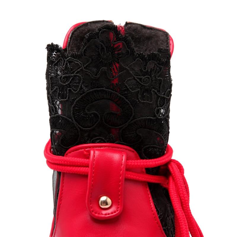 Pour Plate Dentelle Hauts Hiver À Talons Femmes Charmes rouge blanc Bout forme Chaussures Anmairon Bottes Rouge Noir Nouveaux Rond Femme Bottines Sexy Rq5jLc34A