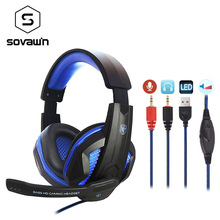 Buy LED Bass HD Gaming Headset Mic Stereo Computer Gamer Over-ear Headband Headphone Noise Cancelling with Microphone for PC Game