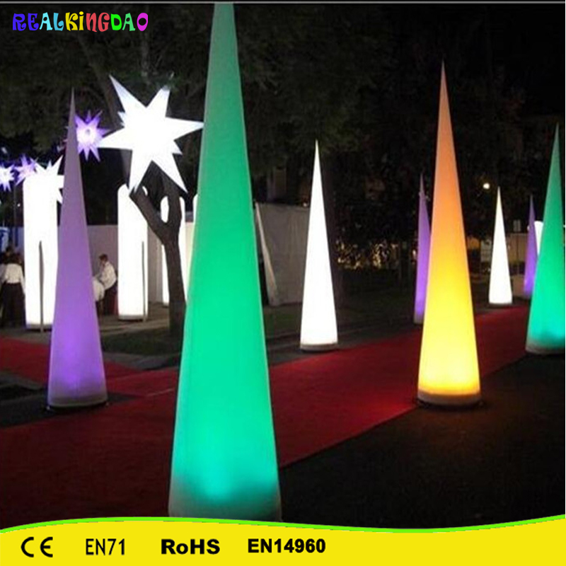 Free shipping Wedding/Night Party/Christmas/ Party LED Inflatable Cones With Led BaseFree shipping Wedding/Night Party/Christmas/ Party LED Inflatable Cones With Led Base