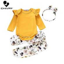 Chivry 3Pcs Newborn Baby Girl Floral Jumpsuit Romper Bodysuit Tops + Pants Headband Outfit Infant Clothes Set