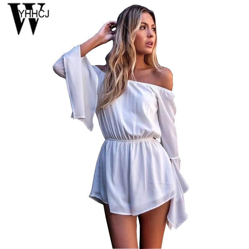 WYHHCJ 2017 Slash Neck Elegant Summer Women Jumpsuit Strapless Flare Sleeve Solid Bodysuit Women Rompers One