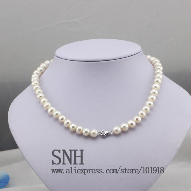 Freshwater Natural Pearl Necklace Women fine pearl necklace Jewelry Pearl 925 sterling silver necklace Cultured Genuine Pearl