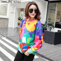 camisas mujer 2019 Fashion letter print loose long sleeve top women casual O neck tshirt bottoming shirt