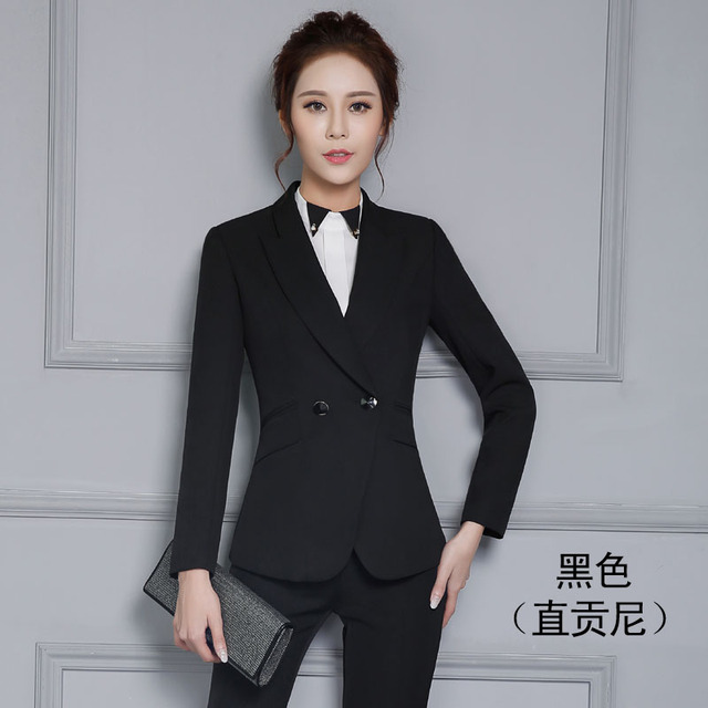 Plus Size 2016 Autumn Winter Formal Uniform Design Professional Office Work Suits With Jackets And Pants Pantsuits Trousers Set