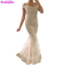 2018 Champagne Full Lace Off the Shoulder Prom Dresses Mermaid Short Sleeves Covered Button Back Dress Evening Wear Cheap  dress black lace details off the shoulder short sleeves bodysuits