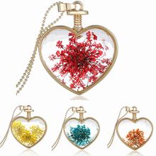Bluelans Women's Love Heart Charm Dried Flower Pendant Chain Necklace Jewelry Xmas Gift