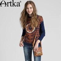 Artka Women S Autumn New Loose Style Jarquard Wool Sweater Fashion O Neck Long Sleeve All
