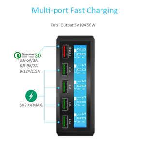 Image 3 - STOD 5 Port USB Charger 50W LED Display Quick Charge 3.0 Charging For iPhone iPad Samsung Huawei Nexus Mi QC3.0 Power Adapter