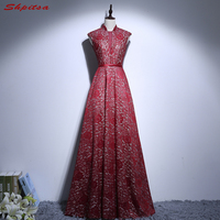 Red Lace Mother of the Bride Dresses Gowns for Weddings High Neck Bridal Formal Godmother Groom Long Dresses
