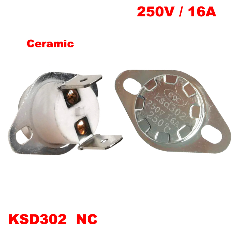 80 85 90 95 <font><b>100</b></font> 105 <font><b>110</b></font> 115 Degree KSD302 16A 250V Right Angle Normal Closed NC Ceramic Themostat Temperature Control Switch image
