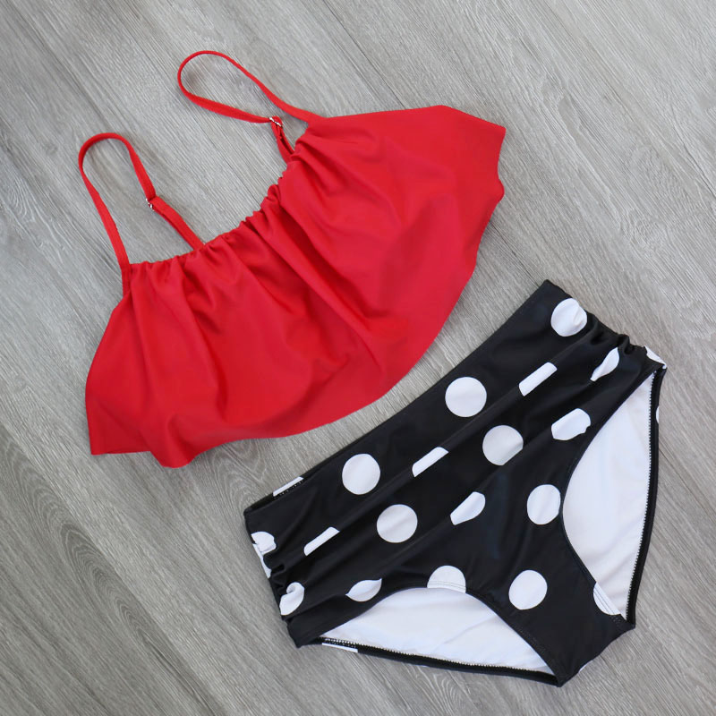 HTB1uVlfXubviK0jSZFNq6yApXXaf 2018 Bikinis Women Swimwear High Waist Swimsuit Halter Sexy Bikini Set Retro Bathing Suits Plus Size Swimwear XXL