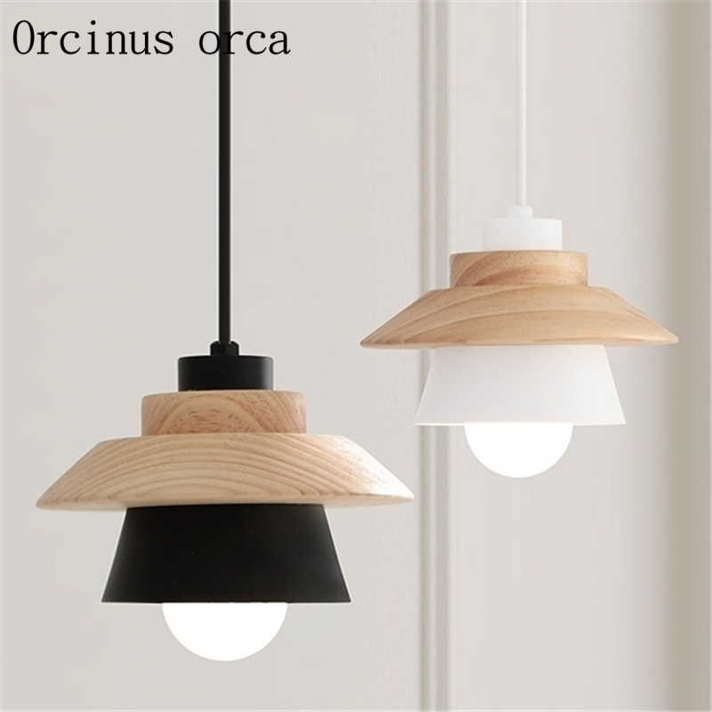 Nordic creative simple modern restaurant lights three chandeliers solid wood LED bar study japanese style solid wood bar simple led nordic pendant lights a1 log restaurant lights creative personality round wood za