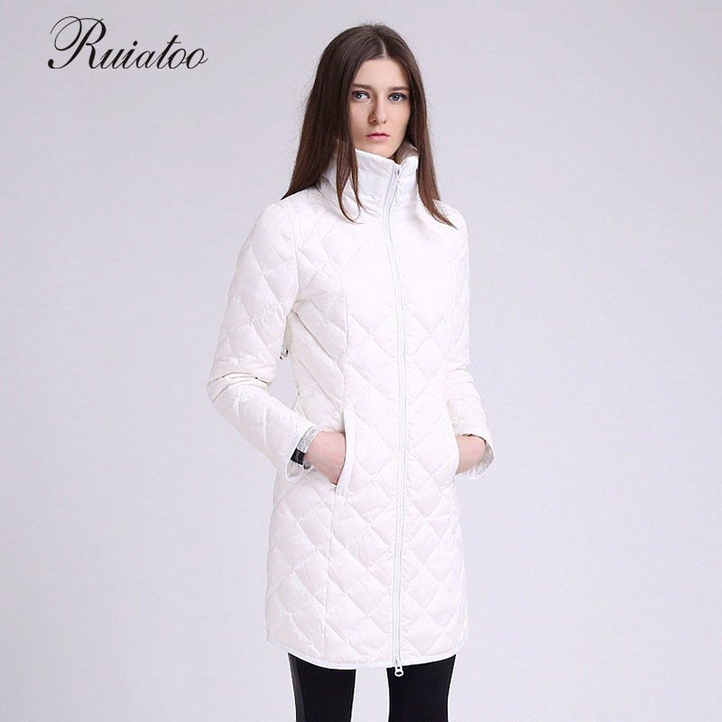 Women's  2017 autumn and winter new long feather cotton coat with the size women's thin simple Lingge Slim high cashmere jacket lucky panda 2016 the new winter coat and female slim in the long and small lattice fragrant cotton lkp243