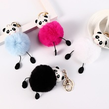 Cute panda Key chain fake Rabbit Fur Soft Ball Pompom Keychain For Women Bag Cars Pom Pom Fluffy Gift key ring  Pendant Porte недорого